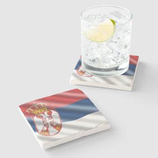 Serbian flag stone coaster