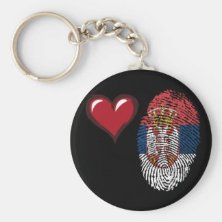 Serbian touch fingerprint flag basic round button keychain
