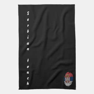 Serbian touch fingerprint flag kitchen towel