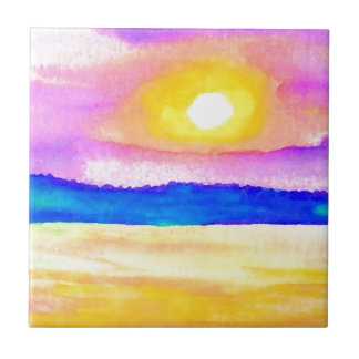 Serendipity Ocean Lake Sunset Art Tile