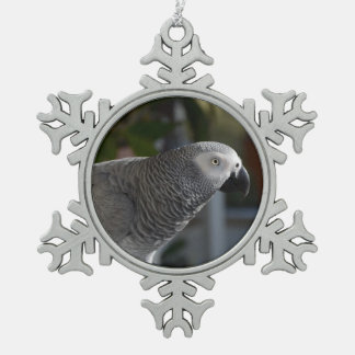 Serene African Grey Parrot Snowflake Pewter Christmas Ornament