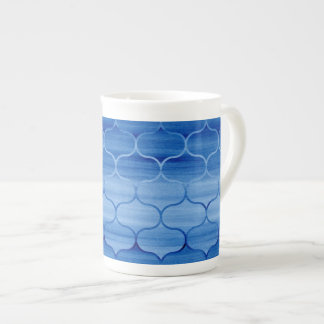 Serene Blue Watercolor Ogee Pattern Tea Cup