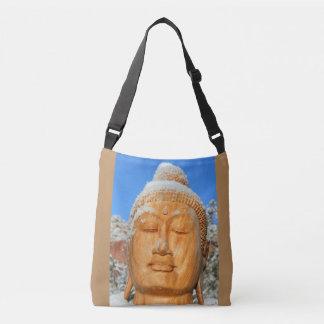 serene buddha face closeup crossbody bag