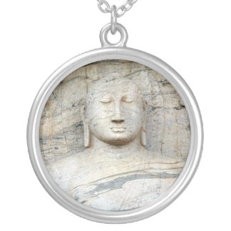 Serene Buddha Image Silver Plated Necklace