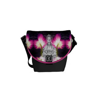 Serene Buddha & Tulips Messenger Bag
