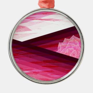 Serene Contemporary Flower Design Metal Ornament