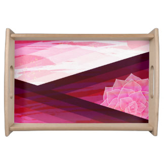 Serene Contemporary Flower Design Serving Tray