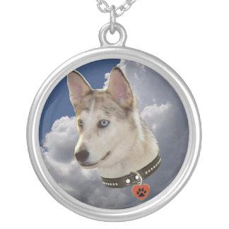 Serene Husky Dog in Fluffy White Clouds Custom Necklace
