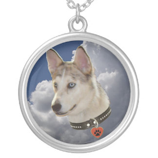 Serene Husky Dog in Fluffy White Clouds Round Pendant Necklace