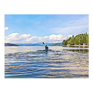 Serene Lake Kayak Canoe Photo Postcard
