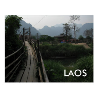 Serene Laos Mountain, River, Bridge Southeast Asia Postcard