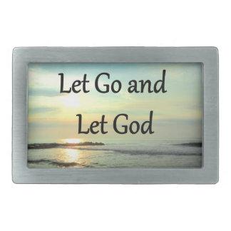 SERENE LET GO AND LET GOD OCEAN PHOTO RECTANGULAR BELT BUCKLE
