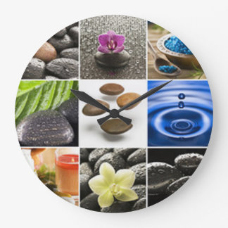 Serene Meditation Collage Large Clock