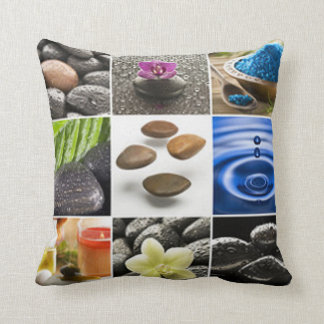 Serene Meditation Collage Throw Pillow