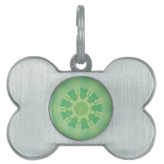 Serene Mellow Green Kaleidoscope Pet Name Tag