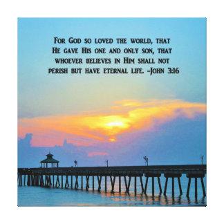 SERENE OCEAN SUNSET JOHN 3:16 CANVAS PRINT
