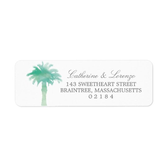 Serene Palm Tree Watercolor | Return Address