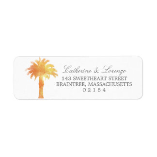 Serene Palm Tree Watercolor | Return Address