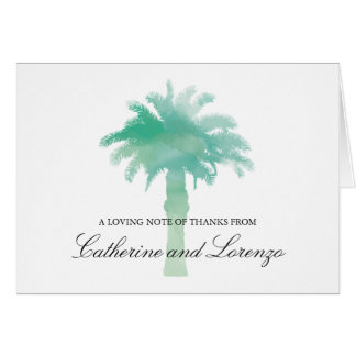 Serene Palm Tree Watercolor   Thank You Card