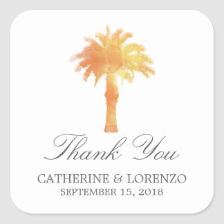 Serene Palm Tree Watercolor | Thank You Square Sticker