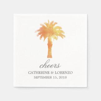 Serene Palm Tree Watercolor   Wedding Disposable Napkin