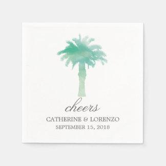 Serene Palm Tree Watercolor   Wedding Paper Napkins