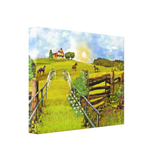 Serene Ranch with Horses Watercolor Canvas Art