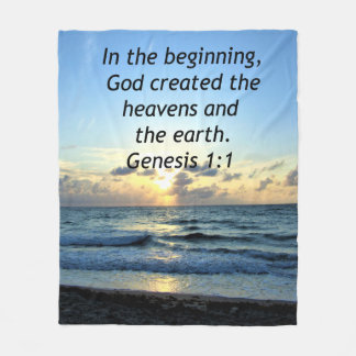 SERENE SUNRISE GENESIS 1:1 PHOTO SCRIPTURE FLEECE BLANKET