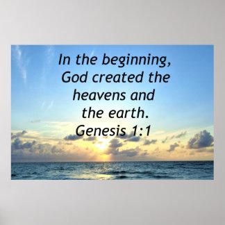 SERENE SUNRISE GENESIS 1:1 PHOTO SCRIPTURE POSTER