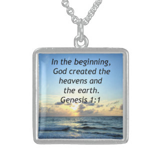 SERENE SUNRISE GENESIS 1:1 PHOTO SCRIPTURE STERLING SILVER NECKLACE