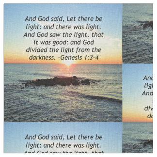 Serene Sunrise Genesis 1:3 Bible Design Fabric
