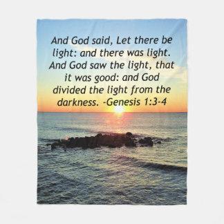Serene Sunrise Genesis 1:3 Bible Design Fleece Blanket
