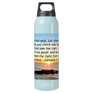Serene Sunrise Genesis 1:3 Bible Design Insulated Water Bottle