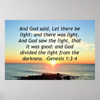 Serene Sunrise Genesis 1:3 Bible Design Poster