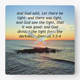 Serene Sunrise Genesis 1:3 Bible Design Square Wall Clock