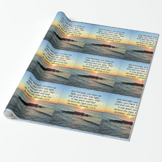 Serene Sunrise Genesis 1:3 Bible Design Wrapping Paper