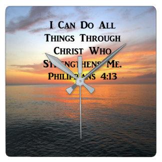 SERENE SUNRISE PHILIPPIANS 4:13 PHOTO SCRIPTURE CLOCK
