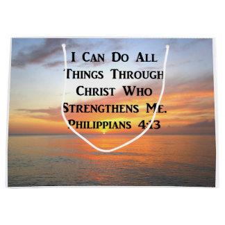 SERENE SUNRISE PHILIPPIANS 4:13 PHOTO SCRIPTURE LARGE GIFT BAG