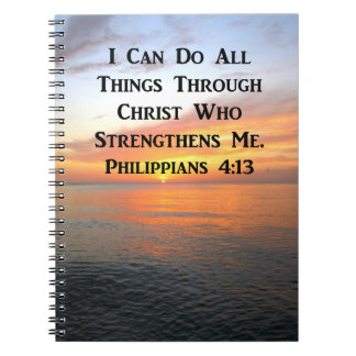 SERENE SUNRISE PHILIPPIANS 4:13 PHOTO SCRIPTURE SPIRAL NOTEBOOK