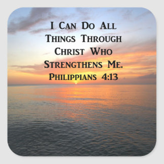 SERENE SUNRISE PHILIPPIANS 4:13 PHOTO SCRIPTURE SQUARE STICKER