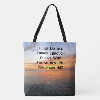 SERENE SUNRISE PHILIPPIANS 4:13 PHOTO SCRIPTURE TOTE BAG