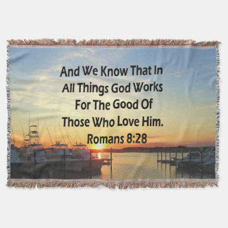SERENE SUNSET ROMANS 8:28 BIBLE VERSE THROW BLANKET
