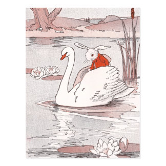 Serene Swan Gives Rabbit a Lift Postcard