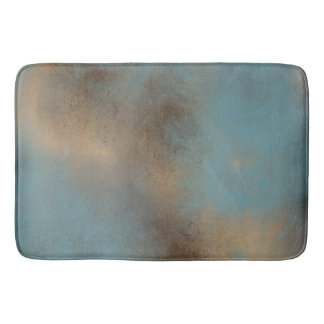 Serene Teal-Blue, Gold and Brown | Bath Mat