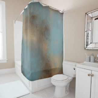 Serene Teal-Blue, Gold and Brown | Shower Curtain