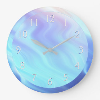 Serene Teal Lavender Rose Large Clock