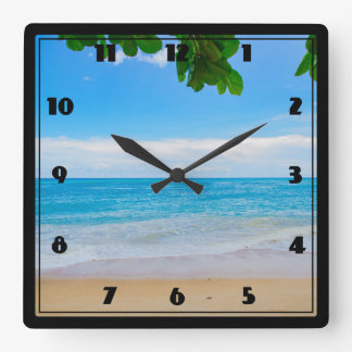 Serene Tropical Beach Sun Sand and Sea Square Wall Clock
