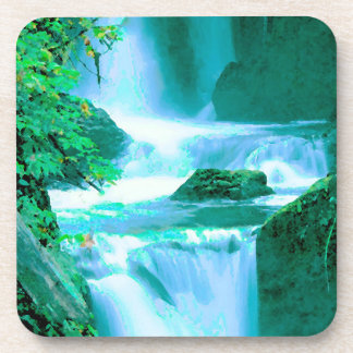 Serene Waterfall in Blue and Green Coaster