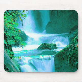 Serene Waterfall in Blue and Green Mouse Pad