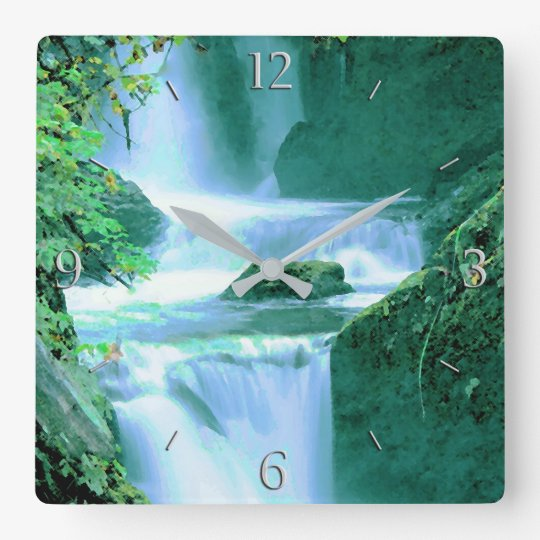Serene Waterfall in Blue and Green Square Wall Clock